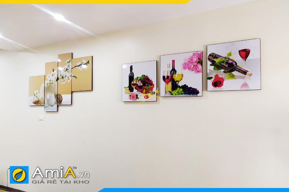 Hình ảnh Tranh rượu vang trang trí bàn ăn khu vực ăn uống đẹp AmiA 1541