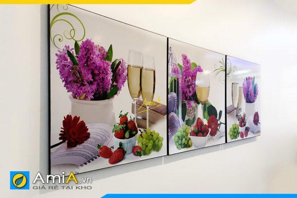 Hình ảnh Tranh rượu vang và hoa trang trí tường bàn ăn đẹp sang trọng AmiA 1649