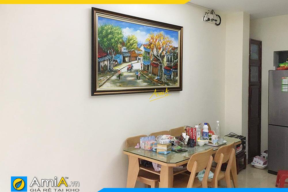 Hình ảnh Tranh sơn dầu phố cổ Hà Nội trang trí bàn ăn đẹp AmiA TSD 371