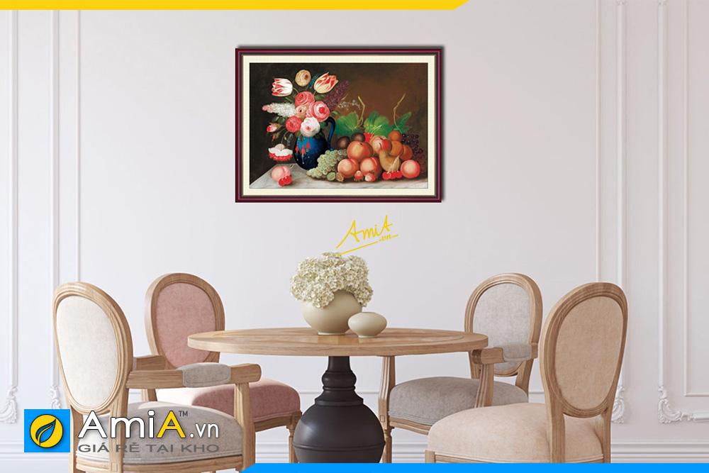 Hình ảnh Tranh tĩnh vật treo phòng ăn bình hoa và trái cây đẹp AmiA 1019