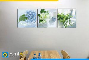 Hình ảnh Tranh trang trí bàn ăn phòng ăn bình hoa đẹp AmiA 1142