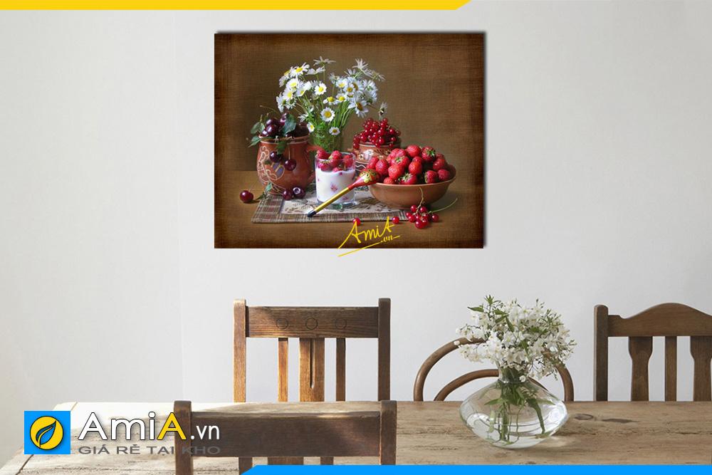 Hình ảnh Tranh trang trí phòng ăn bình hoa cúc trắng và quả AmiA 580