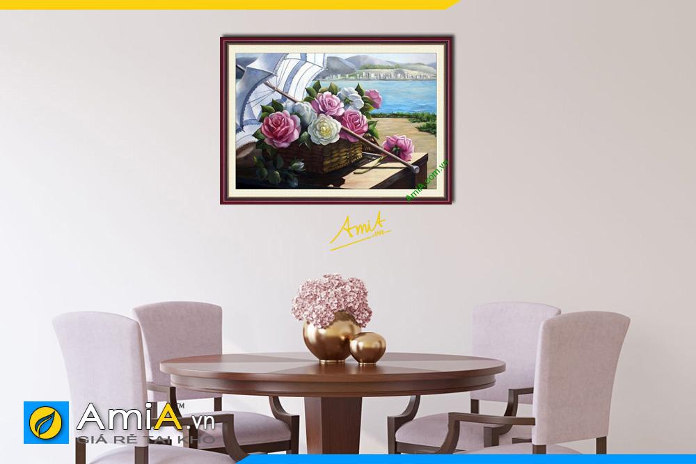 Hình ảnh Tranh trang trí phòng ăn giỏ hoa hồng đẹp lãng mạn AmiA 738