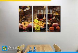Hình ảnh Tranh trang trí phòng ăn nhà bếp chủ đề rượu vang đẹp sang trọng AmiA RV14