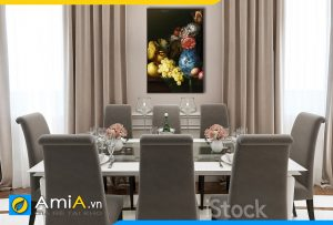 Hình ảnh Tranh trang trí tường bình hoa và quả tân cổ điển cho bàn ăn AmiA BH18