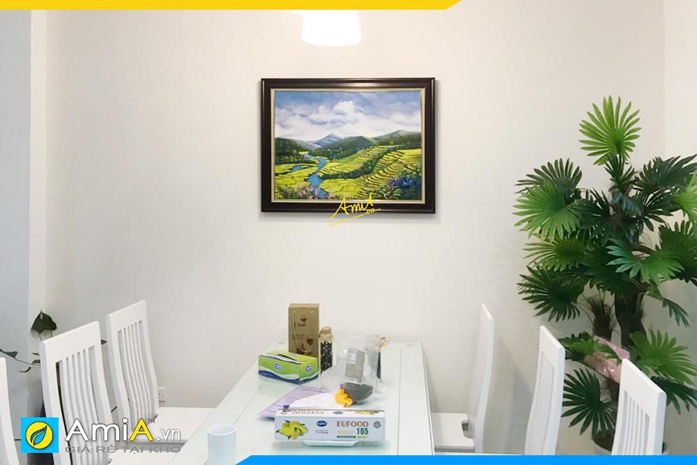 Hình ảnh Tranh treo bàn ăn phong cảnh ruộng bậc thang vẽ sơn dầu đẹp AmiA TSD 396