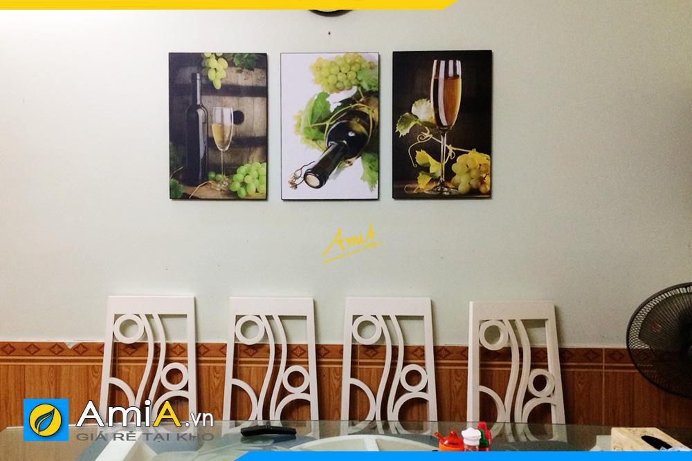 Hình ảnh Tranh treo bàn ăn rượu vang ghép 3 tấm sang trọng AmiA 1775