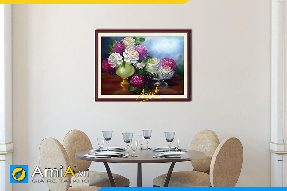 Hình ảnh Tranh treo phòng ăn bàn ăn bình hoa hồng tài lộc AmiA 726
