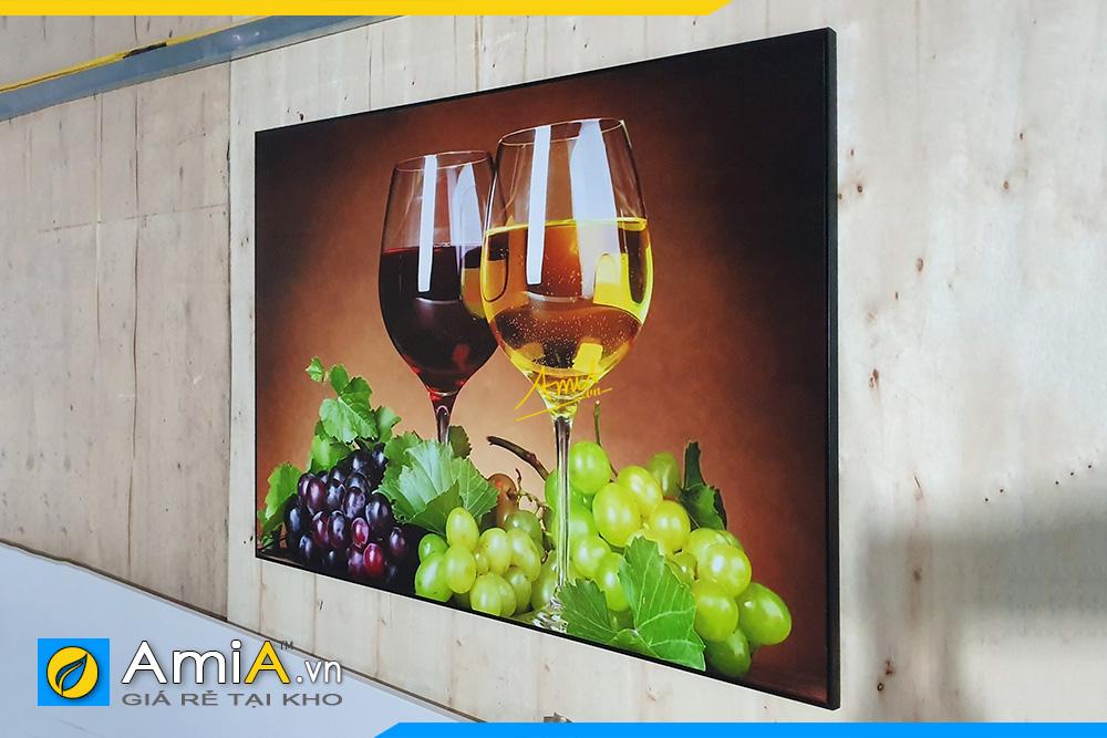 Hình ảnh Tranh treo phòng ăn đẹp ly rượu vang và chùm nho căng mọng AmiA 695
