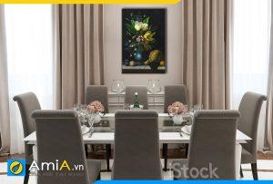 Hình ảnh Tranh treo phòng ăn tân cổ điển chủ đề bình hoa và quả AmiA BH16