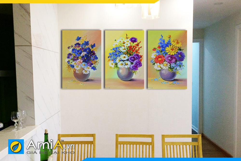 Hình ảnh Tranh treo tường bàn ăn bộ bình hoa nhiều màu in giả sơn dầu AmiA BH06