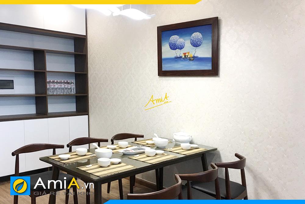 Hình ảnh Tranh treo tường bàn ăn đẹp phong cảnh vẽ sơn dầu khổ nhỏ