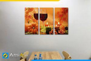 Hình ảnh Tranh treo tường bàn ăn đẹp sang trọng chủ đề rượu vang và nến AmiA RV15