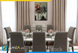 Hình ảnh Tranh treo tường bàn ăn nhà bếp tân cổ điển đẹp bình hoa và quả AmiA BH13