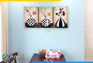 Hình ảnh Tranh treo tường bàn ăn phòng ăn bình hoa đẹp AmiA 1116