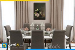 Hình ảnh Tranh treo tường bàn ăn phong cách tân cổ điển bình hoa và quả AmiA BH17