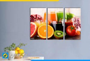 Hình ảnh Tranh treo tường phòng ăn bàn ăn ly nước trái cây thơm ngon AmiA DU23