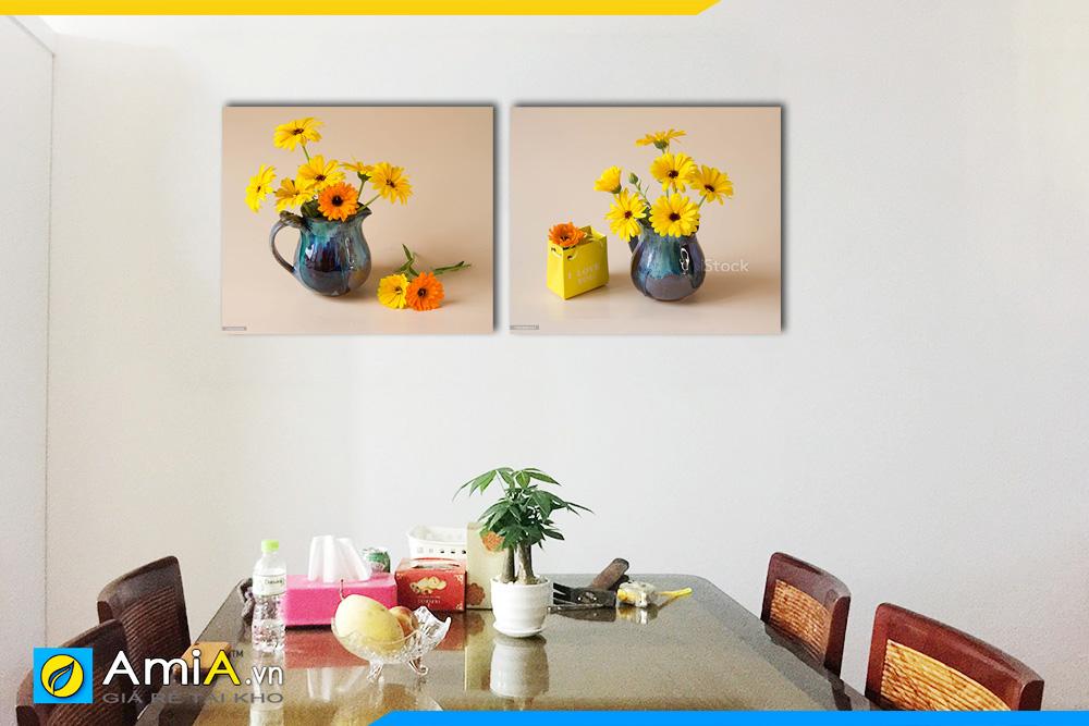 Hình ảnh Tranh treo tường phòng ăn bộ tranh bình hoa đồng tiền đẹp AmiA BH09