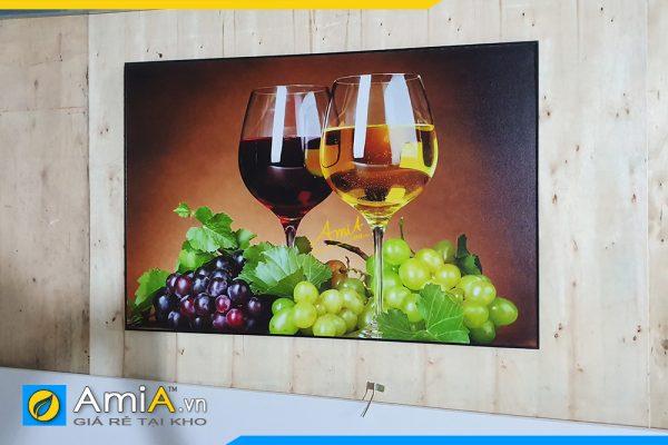 Hình ảnh Tranh treo tường phòng ăn ly rượu vang chùm nho đẹp AmiA 695