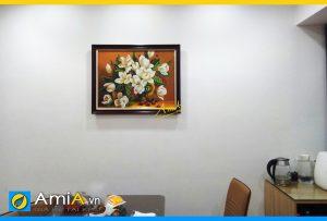 Hình ảnh Tranh vẽ sơn dầu bình hoa tulip treo tường phòng ăn bàn ăn AmiA SD91910