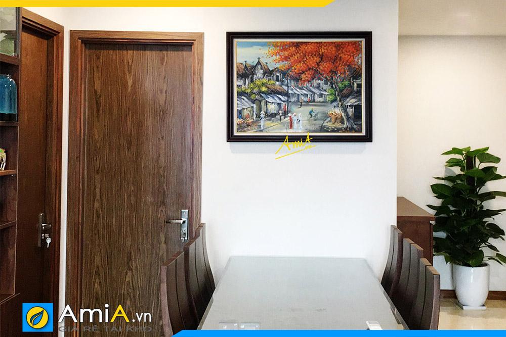 Hình ảnh Tranh vẽ sơn dầu phong cảnh phố cổ Hà Nội treo bàn ăn AmiA TSD 535